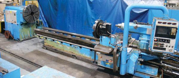 "1 – USED 36/155"" X 295"" (24.5"") TACCHI HOLLOW SPINDLE CNC ADJUSTABLE GAP BED TYPE BORING LATHE"