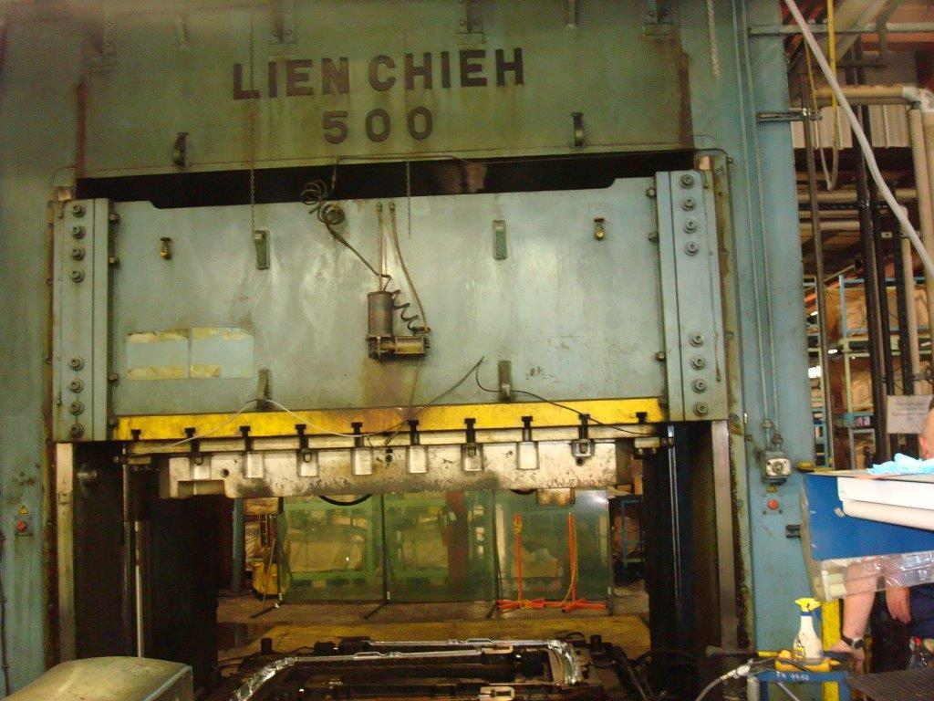 1 – USED 500 TON LIEN CHIEH S.S. DOWN ACTING GIB GUIDED HYDRAULIC PRESS
