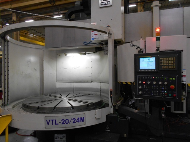 1 – USED MIGHTY VIPER 20-24M CNC VERTICAL BORING MILL WITH C AXIS MILLING TABLE AND LIVE SPINDLE IN RAM C-5096