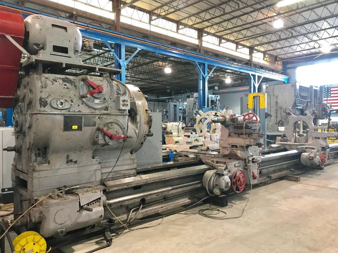 "1 – USED 75"" x 27' CC NILES ENGINE LATHE C-5378"