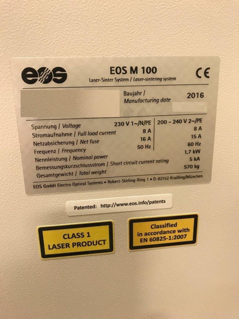​1 – NEW EOS M 100, 3D INDUSTRIAL PRINTER FOR TITANIUM/STAINLESS STEEL