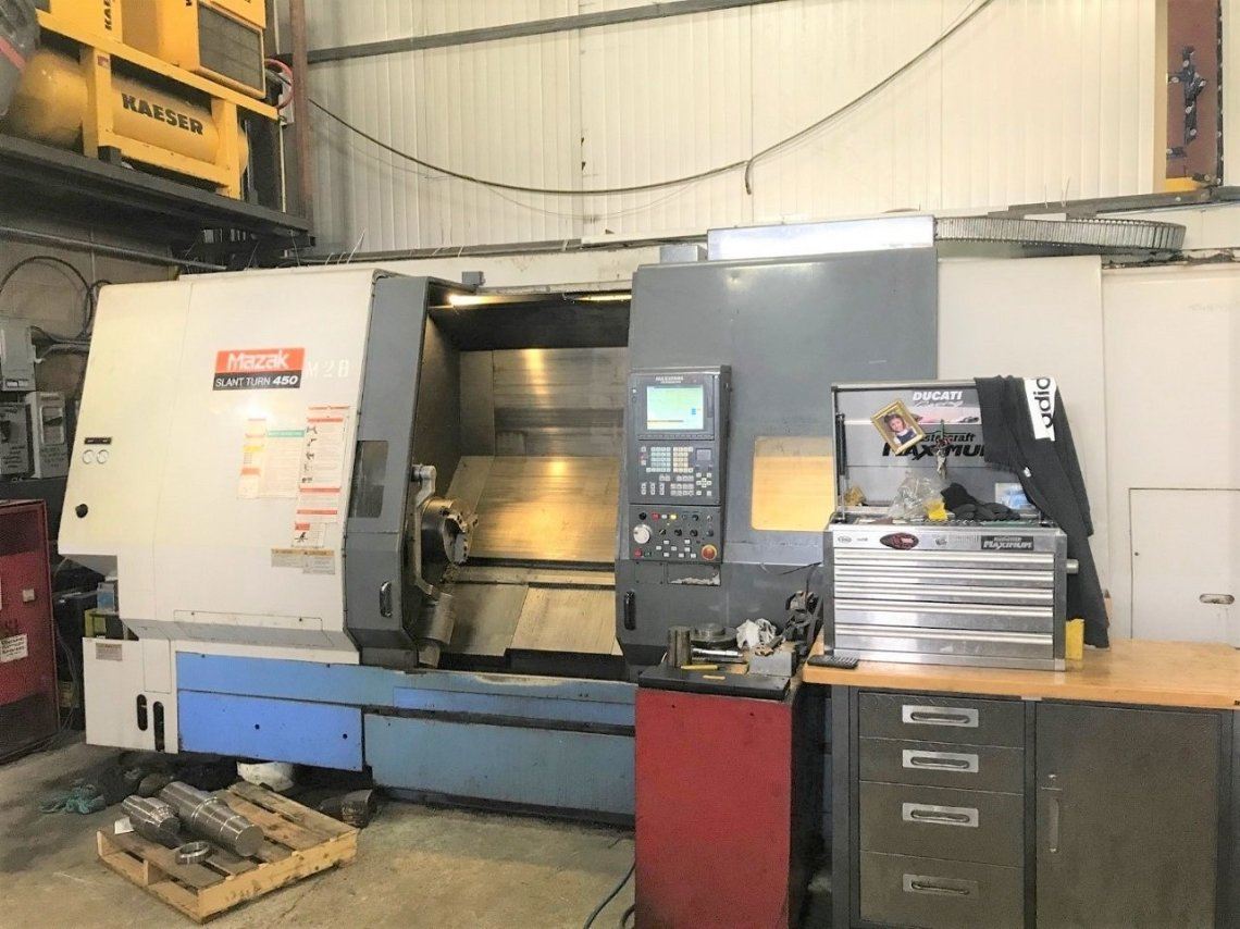 ​1 – USED SLANT TURN 450 MAZAK CNC LATHE C-5564