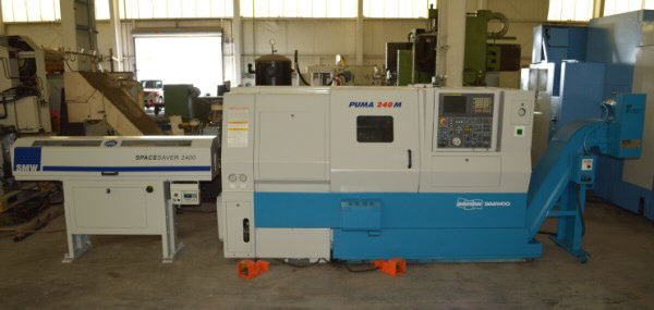 """1 – USED #240MC DAEWOO/DOOSAN """"PUMA"""" CNC TURNING CENTER WITH C-AXIS LIVE MILLING AND BAR FEED"""