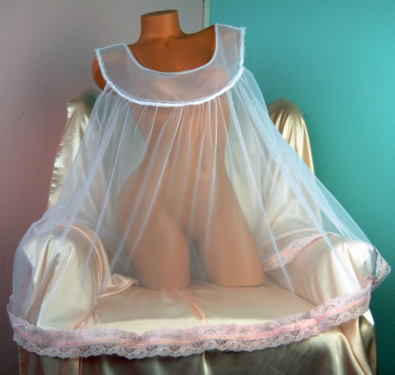 Vintage style All Antron baby Pink lacy chiffon nylon sissy sheer night gown Peignoir MINI L XL