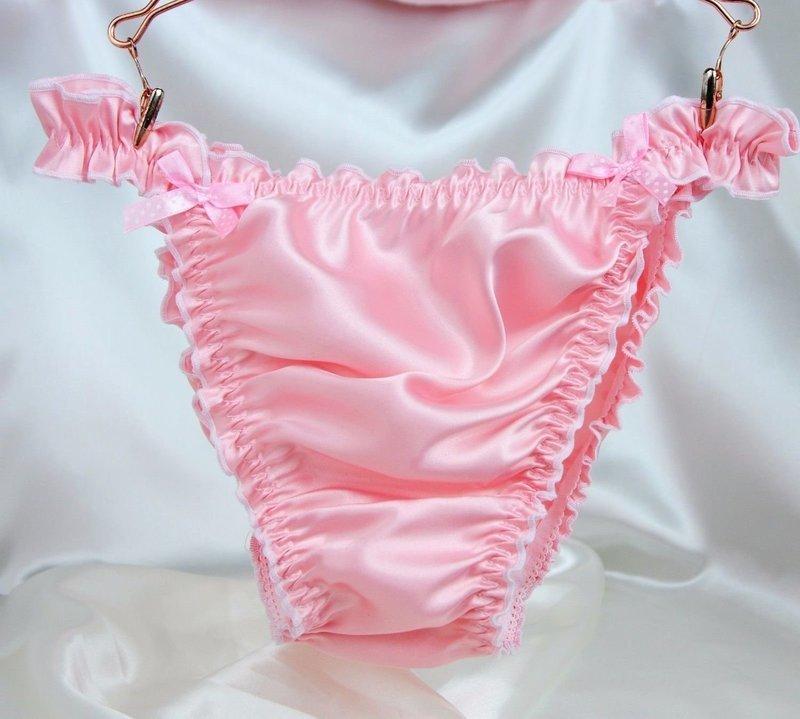 RB SISSY PANTIES!  Ruffled Frilly girly string bikini Satin mens panties Many Colors!