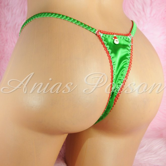 CHRISTMAS COLLECTION! Satin lace shiny satin string LADIES triangle T thong panties S/M LXL