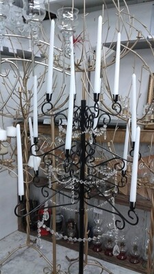 12L Black Candleabra with Jewels
