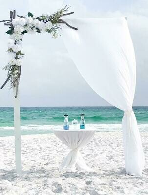 White Wooden 2-Post Arch With White Chiffon