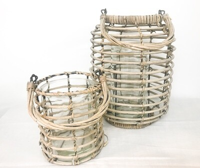 Wicker with Glass Vase Lantern