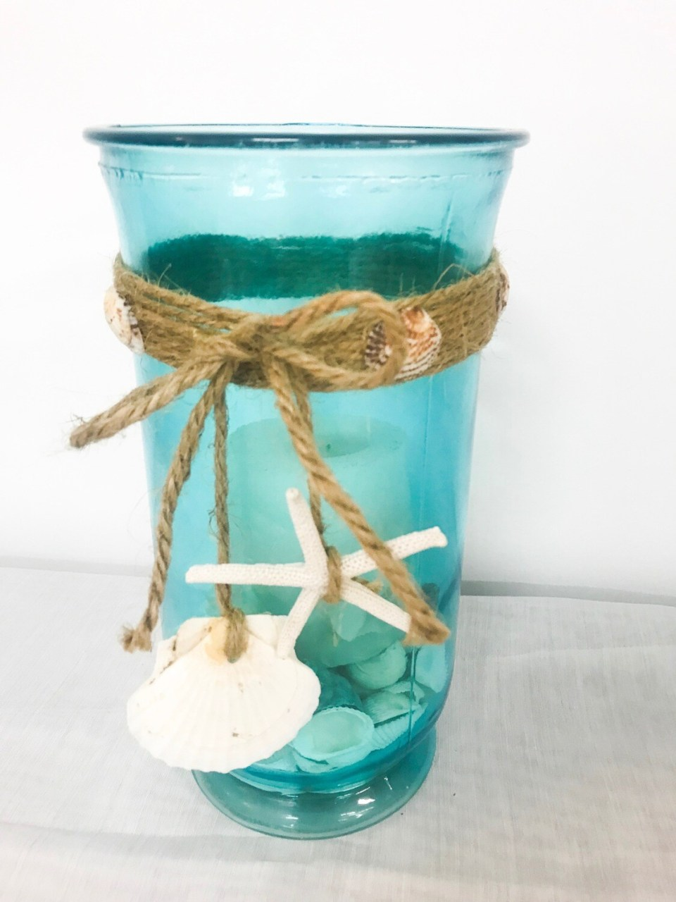 Blue Glass w/Twine & Shells 10