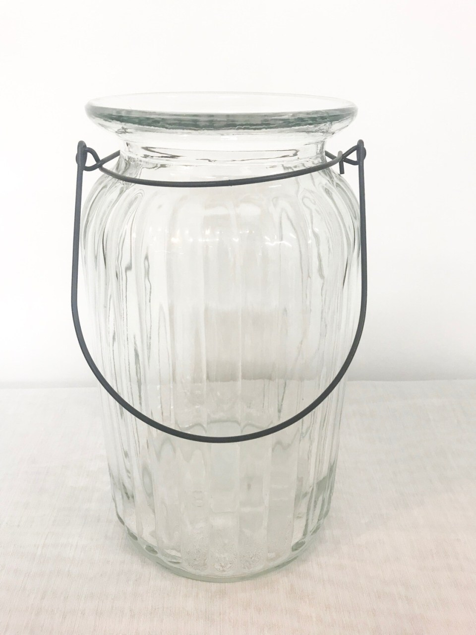 Glass w/Lines & Wire Handle Lantern