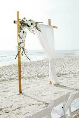 2 Post Bamboo Arch w/ White Chiffon Curtains