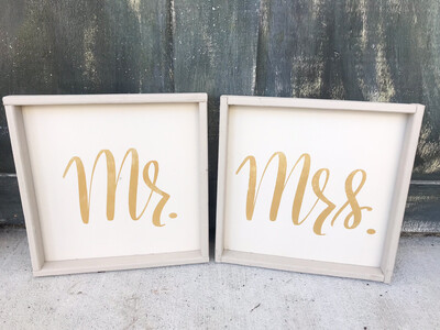 Mr & Mrs Framed Signs