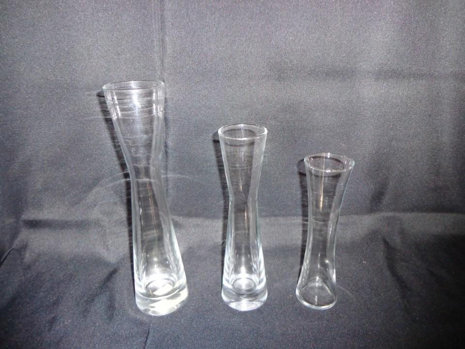 Hourglass Shaped Glass Vase 9.5