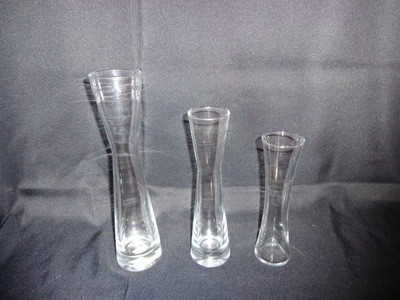 Hourglass Shaped Glass Vase 9.5