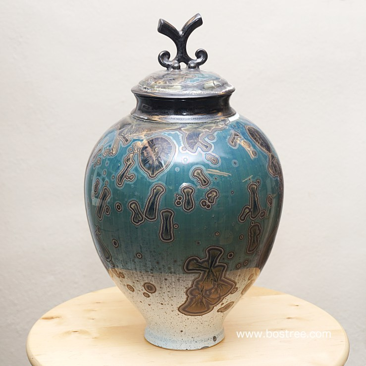 Crystalline Glaze Lidded Vessel by Andrew Boswell ABLV025