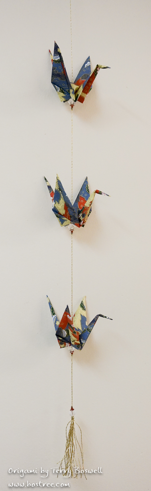 Three Crane Origami Mobile - Blue, Rust, Beige, Gold OR00029