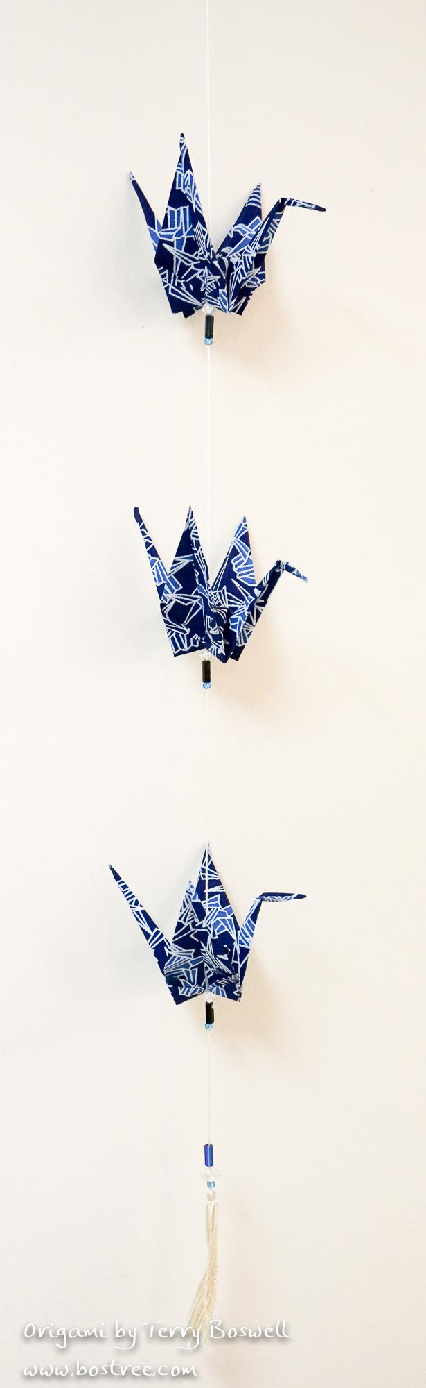 Three Crane Origami Mobile - Dark Blue, Light Blue, White OR00032