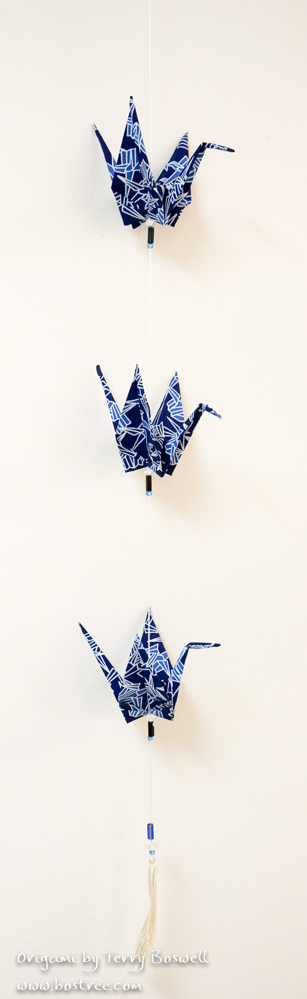 Three Crane Origami Mobile - Dark Blue, Light Blue, White