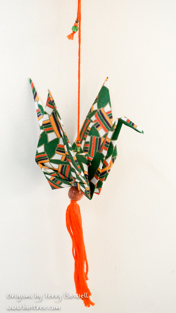 Origami Ornament for Car or Christmas Tree - Green, Orange OR00036