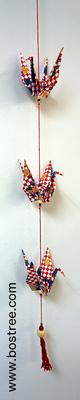 Three Crane Origami Mobile - Red Checkered