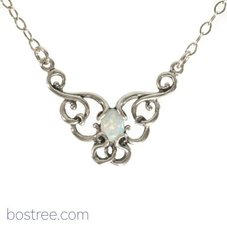 Victorian Necklace - Sterling Silver & White Opal RP00062