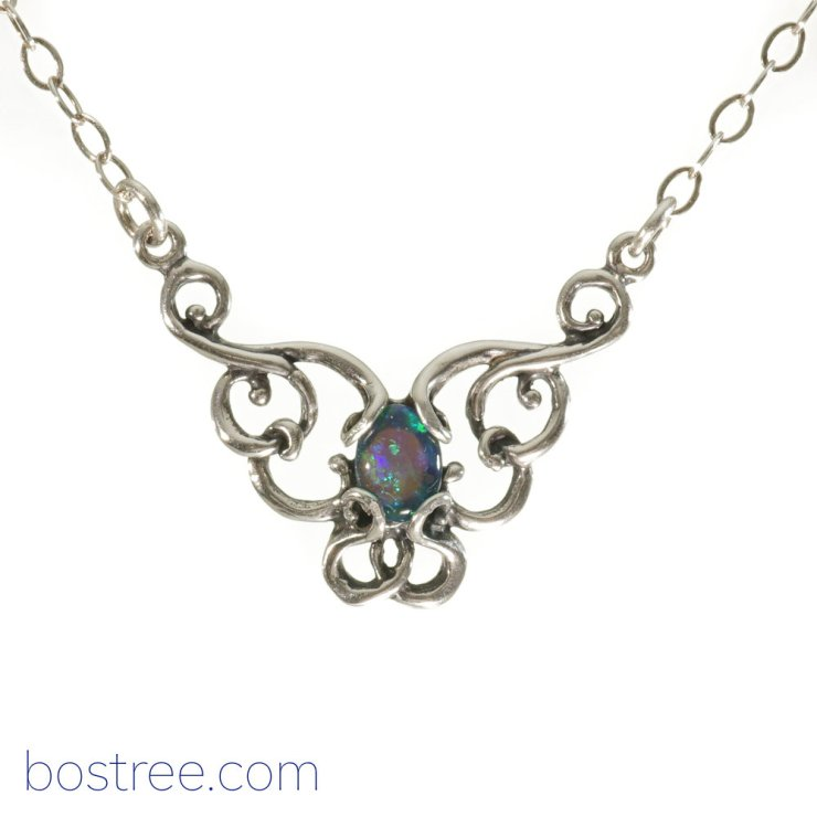 Victorian Necklace - Sterling Silver & Fire Opal