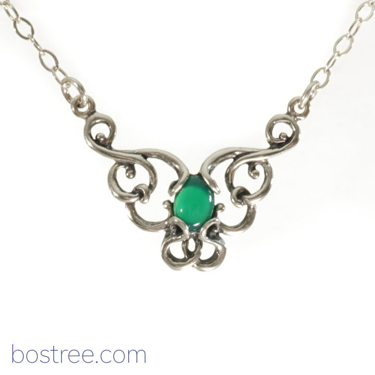 Victorian Necklace - Sterling Silver & Green Aventurine RP00064
