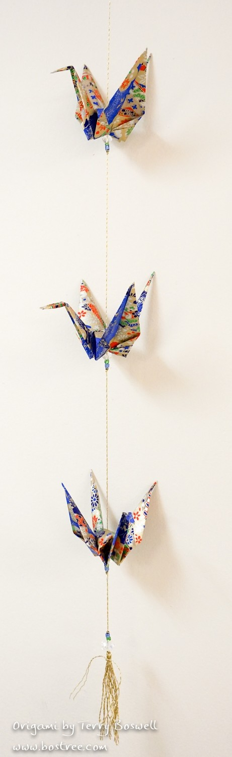Three Crane Origami Mobile - Blue, Gold, Red