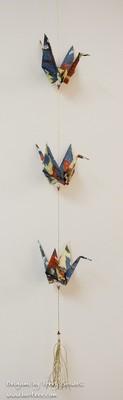 Three Crane Origami Mobile - Blue, Rust, Beige, Gold
