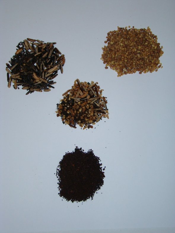 Ersatz ingredients-(clockwise-from upper left-Roasted wild rice, Roasted buckwheat, & Roasted chicory.Center-all 3 combined in Ersatz ®