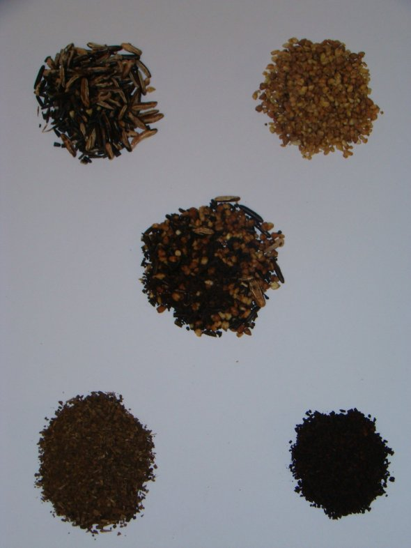 Caffersatz® ingredients (clockwise from upper left) Roasted wild rice, Roasted buckwheat, Roasted chicory, & Roasted maté; center, all ingredients combined into Caffersatz®