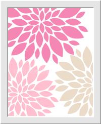 Personalized Baby Nursery Wall Art Pink Beige Tan Flower ...