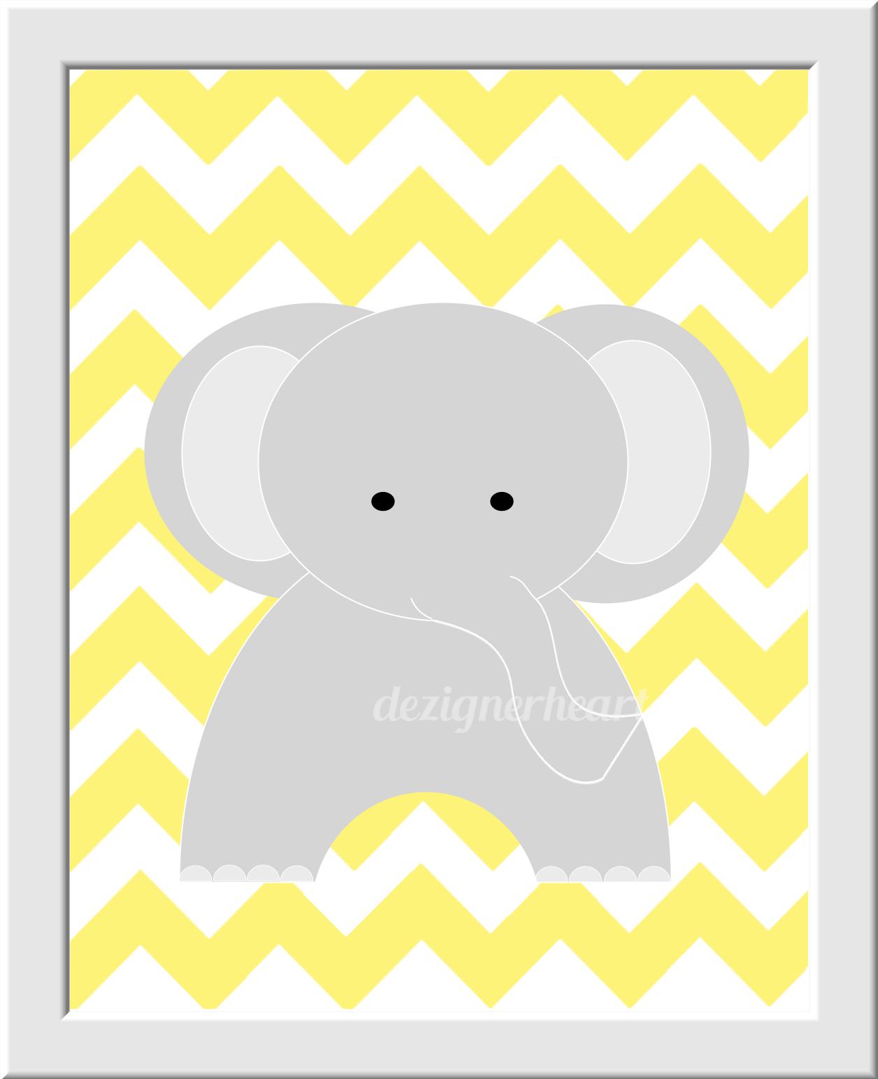 Yellow Gray Grey Nursery Decor Wall Art Elephant Monogram Yellow ...