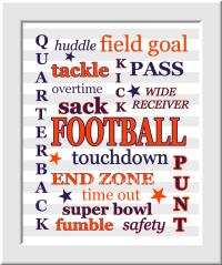 Personalized Sports Art Baby Boy Nursery Wall Art Football ...