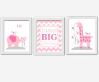 Baby Girl Nursery Wall Art Pink Gray Elephant Giraffe ...