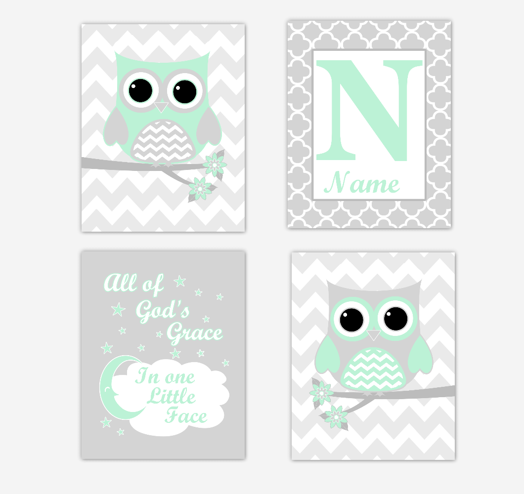 mint green owls baby