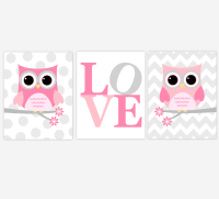 PINK GRAY Baby Girl Nursery Wall Art Owls Owl LOVE Pink ...