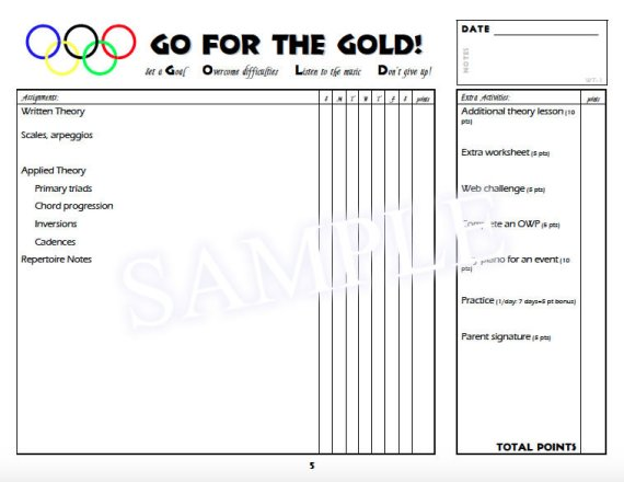 Go For The Gold Sample - Assignment Page
