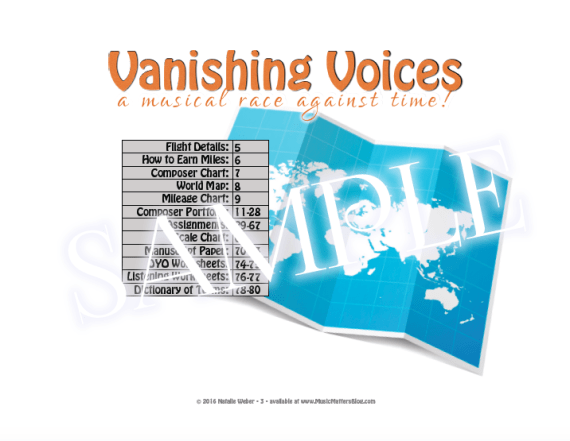 Vanishing Voices Practice Incentive Theme - Table of Contents