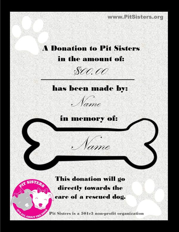 In Memory of Donation Certificate Other Store Pit