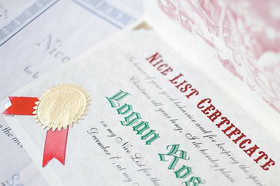 Deluxe Santa Certificate in Folder