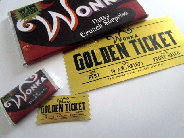 Mini Modern Wonka Bar & Ticket shown with regular size for scale