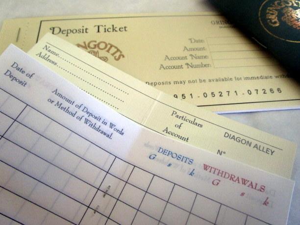Wizarding Deposit Slips & Bank Book elf1022