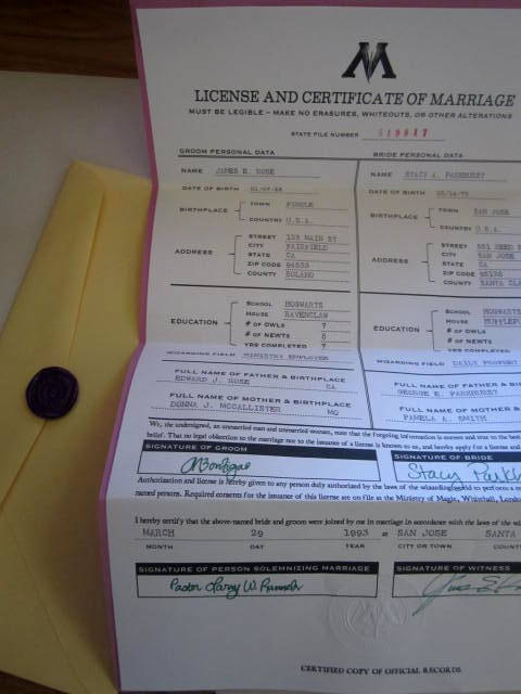 Wizaridng marriage certificate