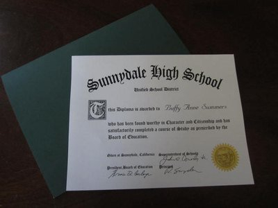 Buffy Sunnydale High School Diploma