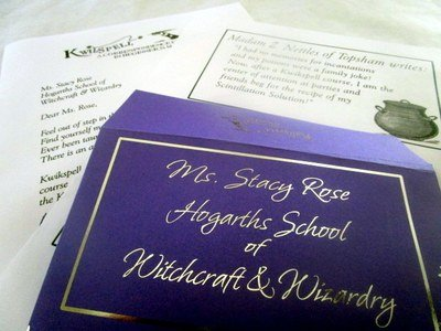 Wizarding Correspondence School Letter & Purple Envelope