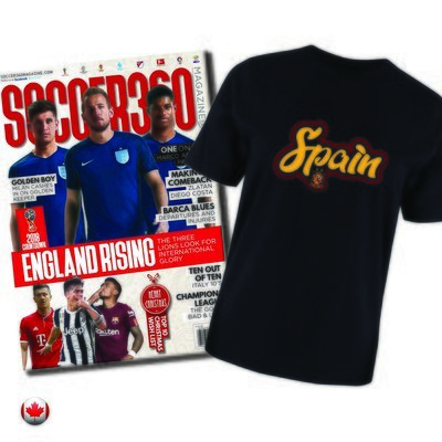 1 Year Soccer 360 Magazine Subscription + FREE Your Choice International Team Supporter Tshirt
