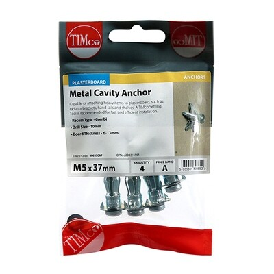 Metal Cavity Anchors - Zinc M5 x 37 (45mm Screw) Pack of 4