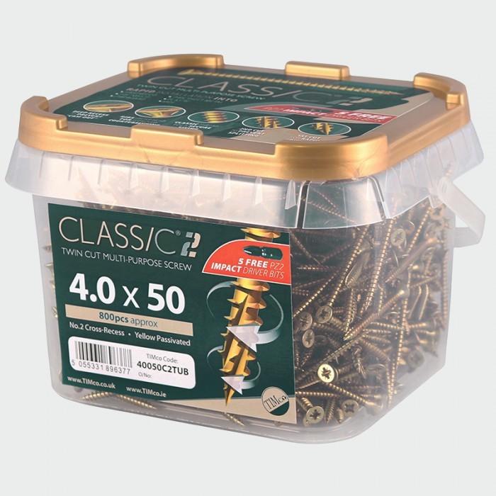 5.0mm x 60mm (Tub of 400 screws) Classic C2 Premium Pozi Countersunk Wood Screws. 901-C2TUB05060ZYP